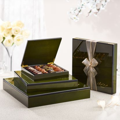 luxe green wood gift box from bateel