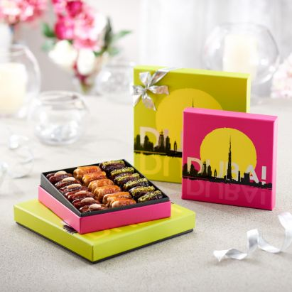 vibrant Dubai destination gift box filled with fresh dates by bateel
