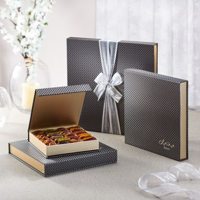 Bateel's iconic square Silver Carbon gift box